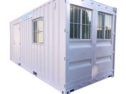 shipping container with barred windows