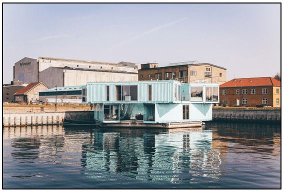 shipping container home on water