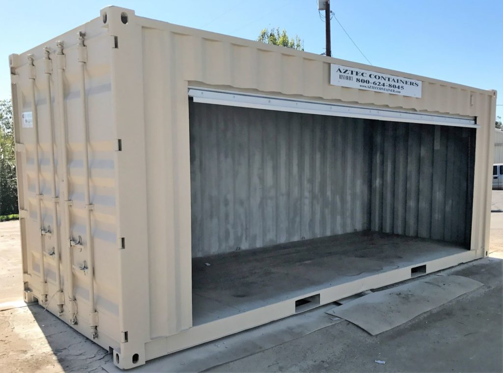 shipping container with one large open door